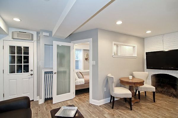 Light colors in a basement renovation