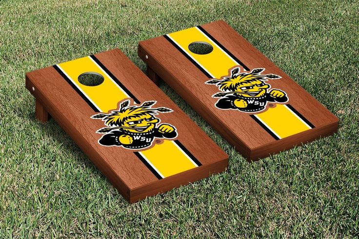 Cornhole Set - Wichita State University WSU Shockers Stained Striped Wooden
