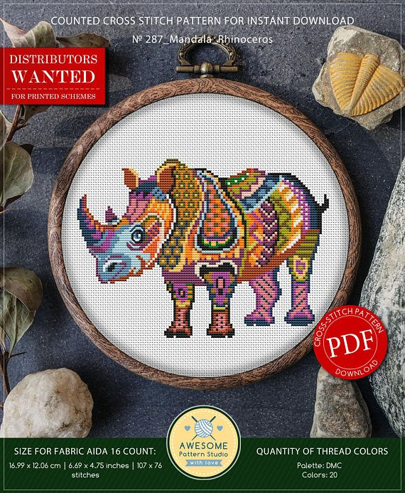 This is modern cross-stitch pattern of Mandala Rhinoceros for instant download. You will get 7-pages PDF file, which includes: - main picture for your reference; - colorful scheme for cross-stitch; - list of DMC thread colors (instruction and key section); - list of calculated