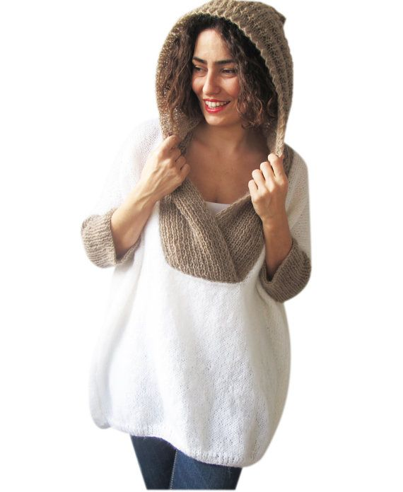Plus Size Hand Knitted Sweater with Hoodie White Beige  by afra, Etsy