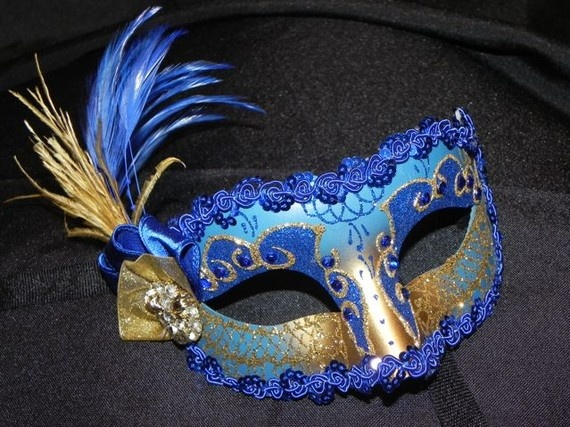 Blue and gold masquerade mask