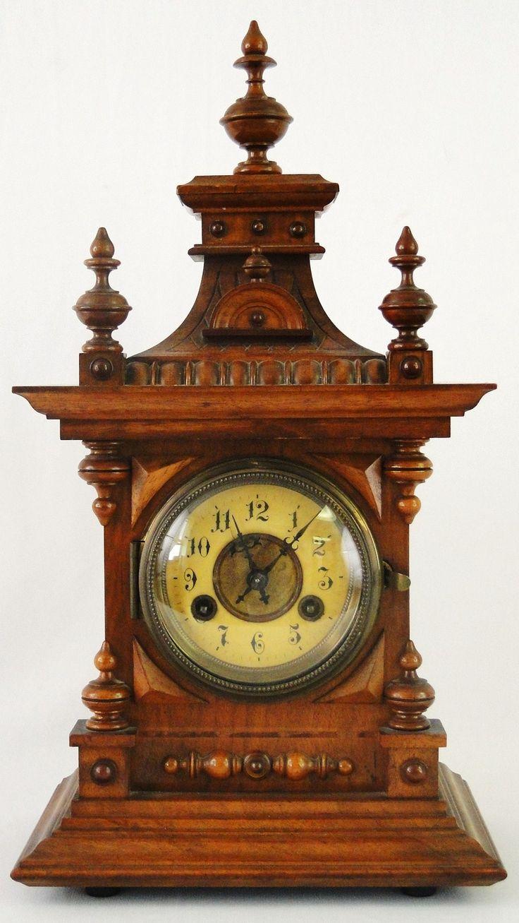 Arts and crafts mantle clock - Antique German Mantle Clocks Antique Victorian Working Junghans German Bracket Shelf Mantle