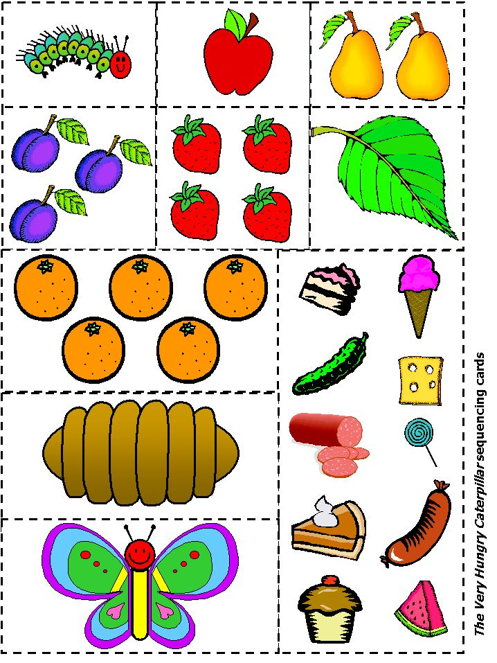 Have your student retell the story of the Hungry Caterpillar by putting the cards in sequencing order