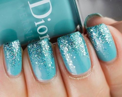 ombre sparkle blue nails
