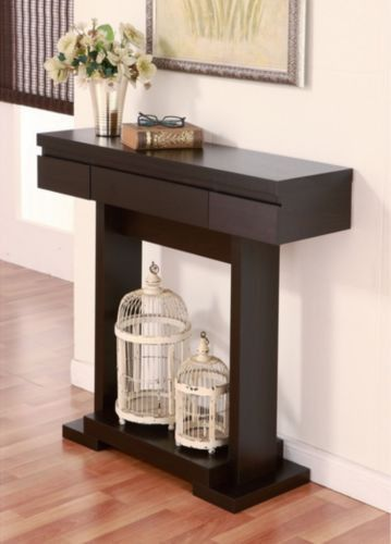 wall tables for living room lime green walls modern console table with single drawer cappuccino finish furniture coffee nesting and end pinterest
