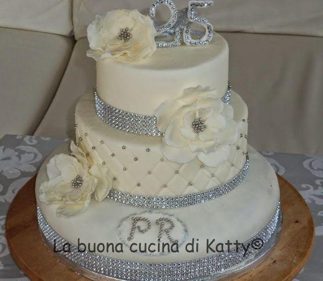 La buona cucina di Katty: 25th anniversary cakes - Nozze d'argento - silver wedding cakes