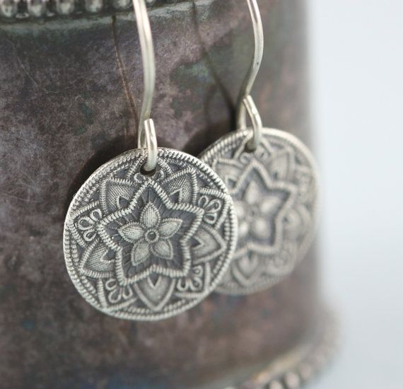 Mandala Star Pole Star Dangle Earrings - Recycled Sterling Silver Handmade