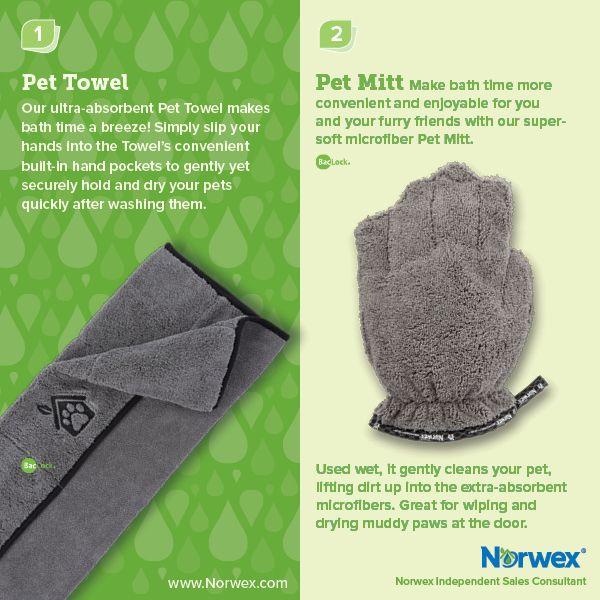 Norwex (1) Pet Towel, (2) Pet Mitt. For Facebook parties, online events and marketing.