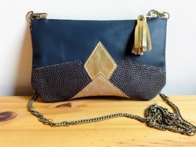 sac cuir geometrique made in france