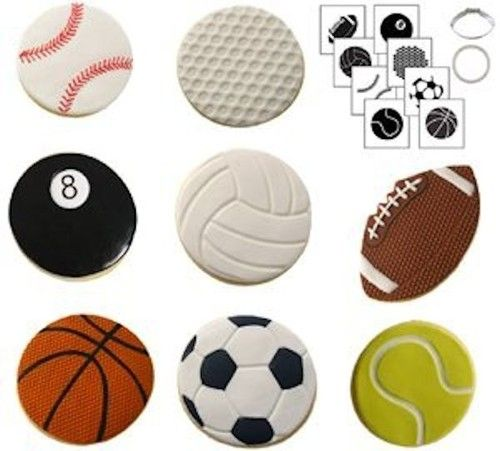 "$12.99 Sports Ball #Cookie Cutter Texture Set from CK A quick and easy way to decorate cookies!   Decorate cookies using the texture mats for an ourstanding design, or embellish with icing for food color pens (not included)   Includes:   1-3"" round cookie cutter   1-3"" football cookie cutter   8 texture mats   Instructions"