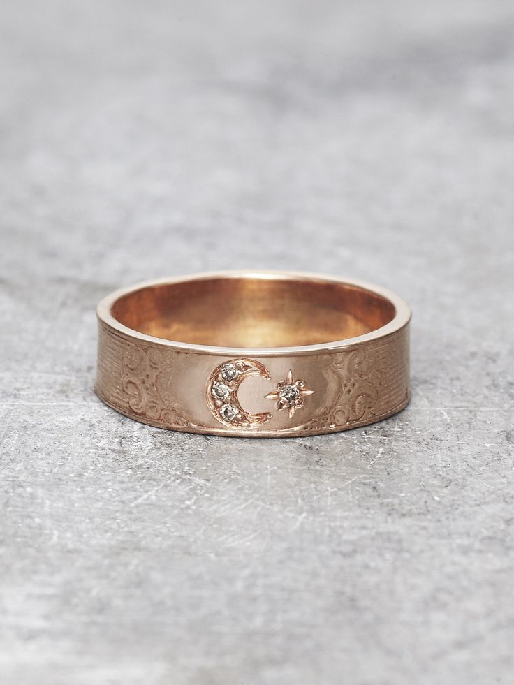 A cosmic sisterhood is shared between the Moon and her favorite sparkling Star, in this precious & luminous Moon Goddess ring. Four shimmering Champagne Diamonds are set in Solid 14K Rose Gold, and su