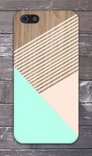 Mint x Champagne Pink Striped Wood Design Case for iPhone 6 6 Plus iPhone 5 5s 5c 4 4s Samsung Galaxy s6 s5 s4 & s3 and Note 5 4 3 2