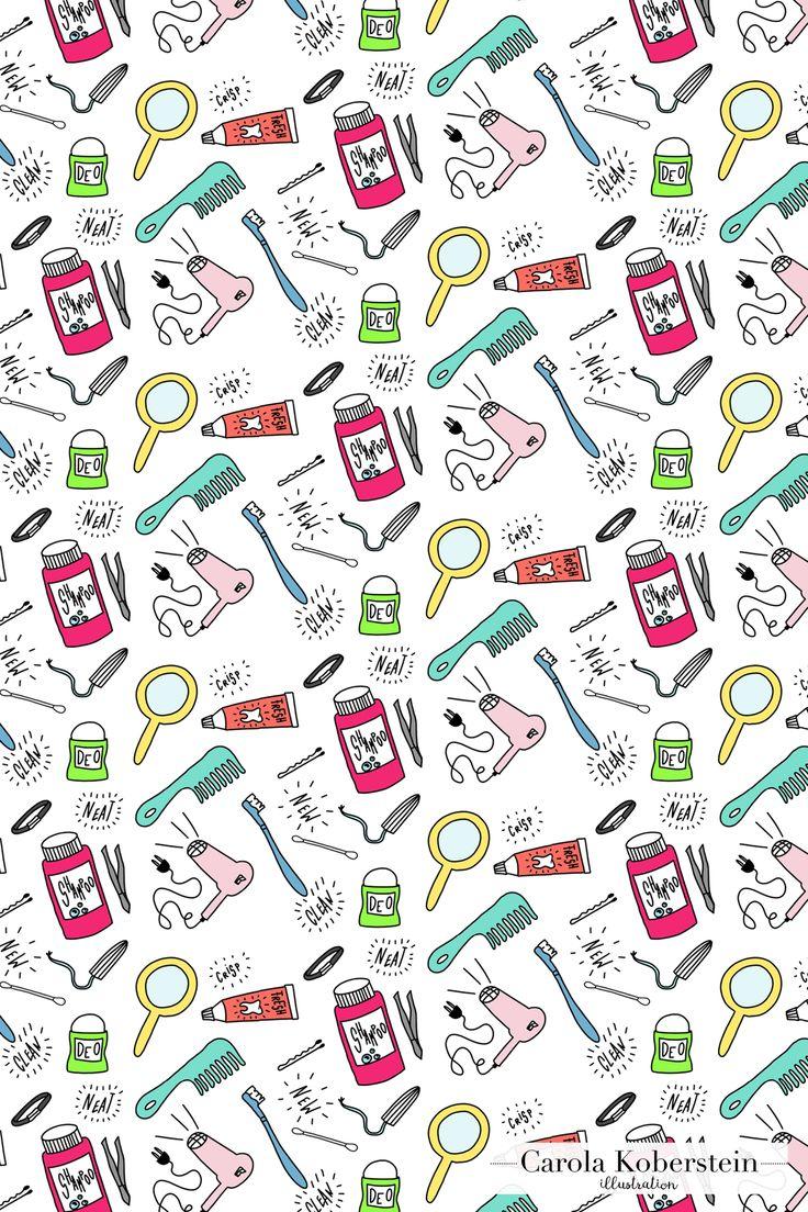 Girly Muster von Carola Koberstein   #muster #pattern #girly #rapport #badezimmer #bad #tampon #zahnbürste #feminist #feminism