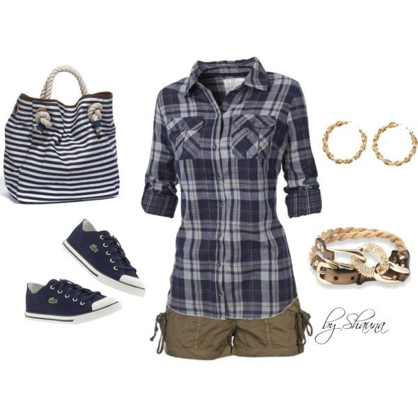 cuffed khaki shorts with comfy denim button down. With a different handbag.