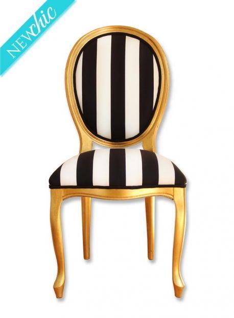 Silla dorada rayas blancas y negras · Black and white stripes gilded chair