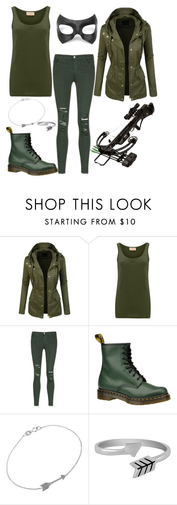 """Female Green Arrow."" by gracenerada ❤ liked on Polyvore featuring LE3NO, Masquerade, American Vintage, J Brand, Dr. Martens, Jennifer Meyer Jewelry and Jewel Exclusive"