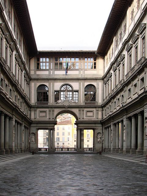 Uffizi Gallery, Florence, Italy - first toured this on a Christmas Eve and watched Santa parachute into the square!!   What fun!!