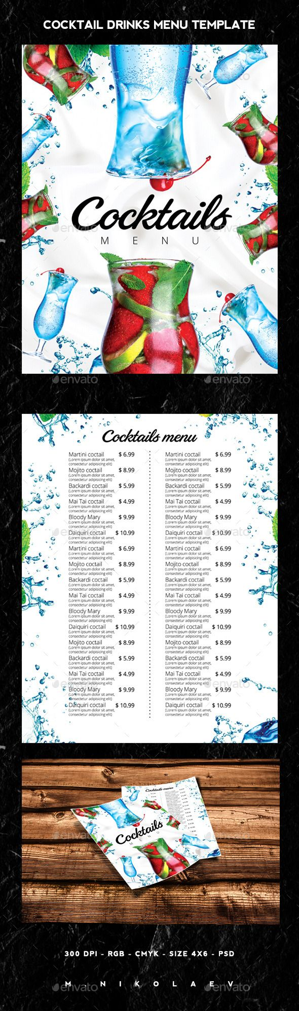 Cocktail Drinks Menu Template #design Download: http://graphicriver.net/item/cocktail-drinks-menu/12802583?ref=ksioks