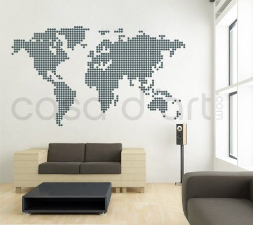 Dotted World Map contemporary wall decal sticker.