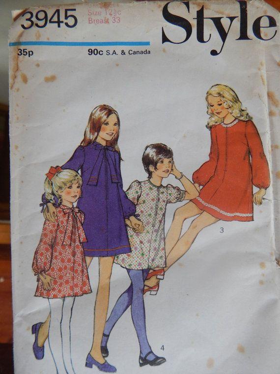 Vintage Style 3945 UNCUT Girls Dress Sewing