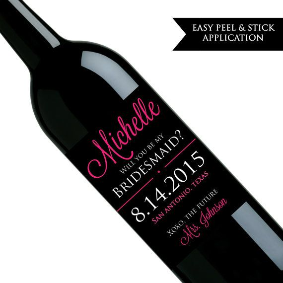 Will you be my bridesmaid wine label Will by ClassyPrintsOnline