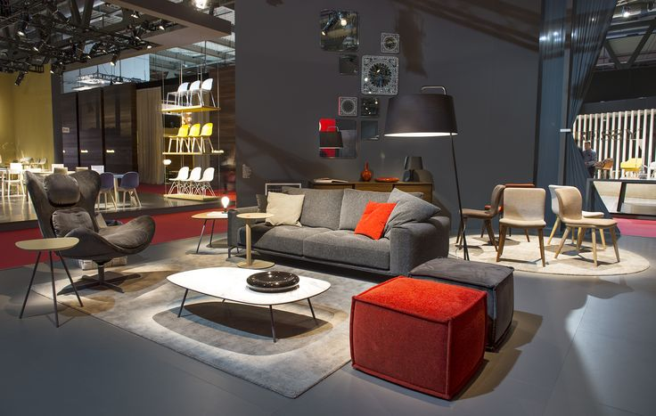 VEGAS Sofa /  LAZY rocking and swiveling armchair  / SOAP pouf / TWEET side and coffee table / SEXTANS floor lamp / ANNIE dining chairs / DAMASCO mirrors
