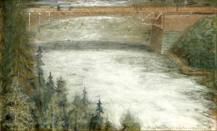 Wettenhovi-Aspa's painting; Imatran koskenniska, (26 x 42 cm).