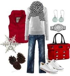 winter vest; basic colored shirt; fun scarf; jeans; converses; hair in pony OR bun; fun earrings