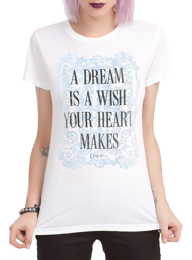 """Fitted white tee from Disney's <i>Cinderella</i> with text design that reads """"A Dream Is A Wish Your Heart Makes."""""""