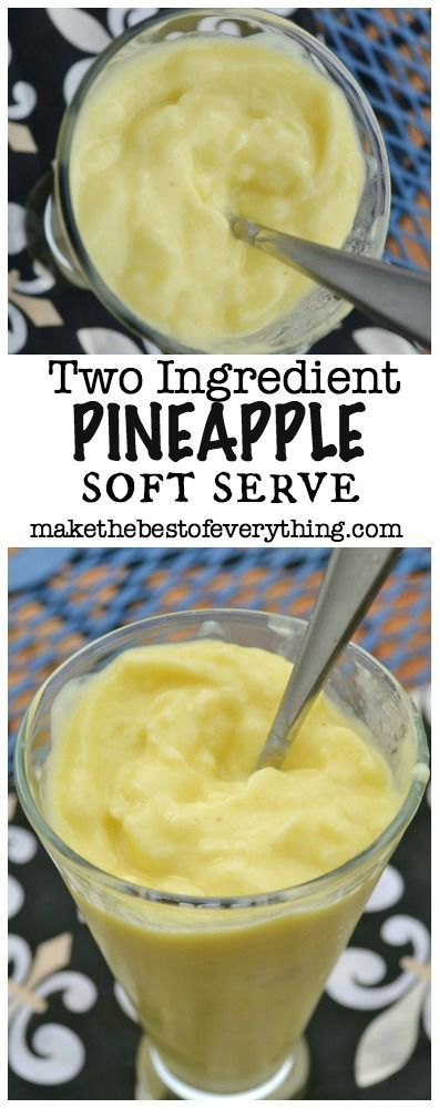 Two Ingredient Pineapple Soft Serve.  No Ice Cream Machine Needed!  This is made in your blender!  No added sugar!