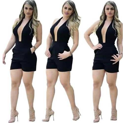 Macacão Macaquinho Feminino Em Suplex Flare Com Bojo Babado - R$ 49,99