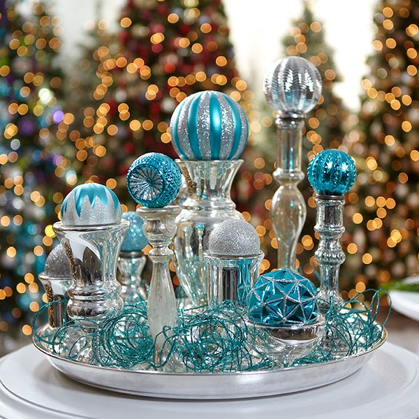 Martha Stewart Living Holiday Centerpeice Made From Holiday Frost Ornaments Available At The