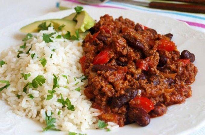 Chilli con carne s rýži