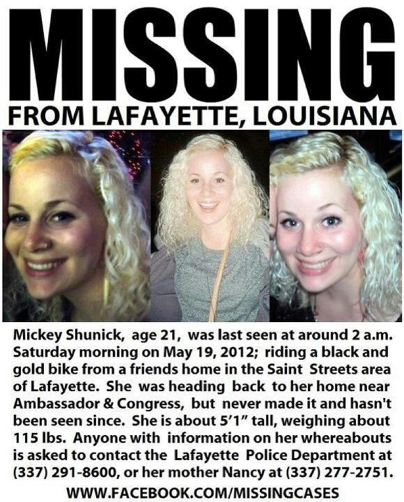 Please repost! Help us find Mickey Shunick - missing girl from Lafayette, LA. She could be anywhere now, so please re-pin even if you don't live near here. Help spread awareness. and PRAY!