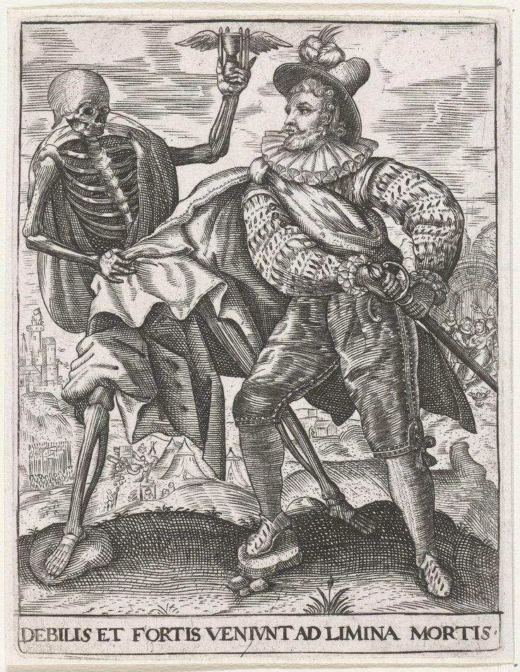 Johann Theodor de Bry | De dood bij een jonge man, Johann Theodor de Bry, Crispijn van de Passe, Johann Theodor en Johann Israel de Bry, 1596 | De dood in de gedaante van een skelet, staand naast een jongeman. In één hand houdt hij een zandloper op, om aan te geven dat de tijd van de man verstreken is en deze nooit meer aan een veldslag, zoals er een op de achtergrond is te zien, zal deelnemen. Dat de 'stolze Held' niet van zins is zich zonder slag of stoot gewonnen te geven blijkt uit het…