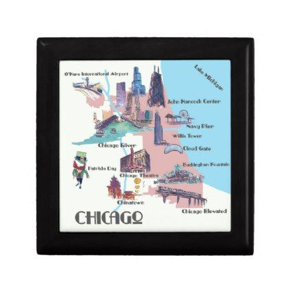 Chicago Georgia Highlights map Gift Box - retro gifts style cyo diy special idea