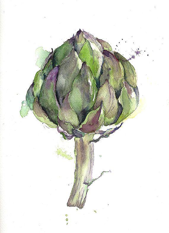 Original painting watercolor artichoke 9x12 stillife by YuliaShe, $52.00