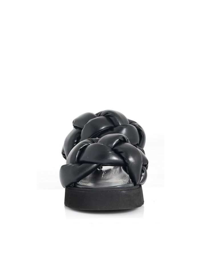 BRUNO BORDESE BRAIDED LEATHER SANDALS S/S 2016 Black leather  braided sandals side buckle closure black rubber sole