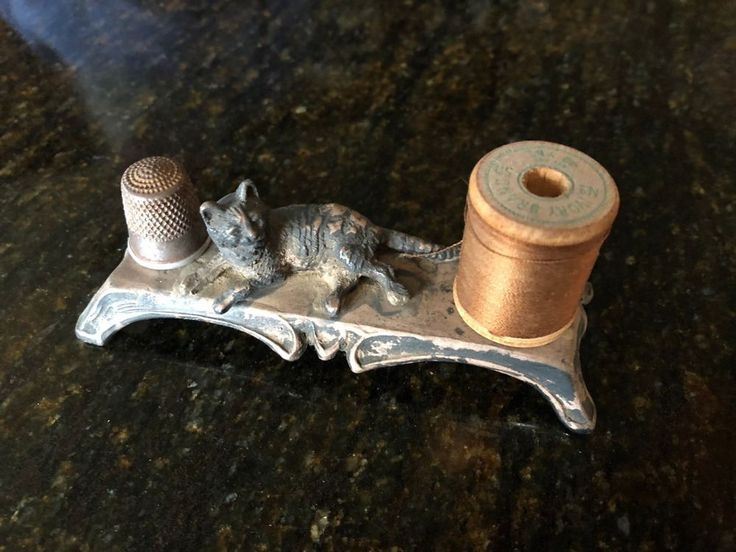 Antique Metal Sewing Holder,Child size thimble holder and thread holder | eBay