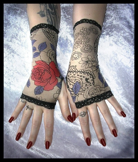 I Never Promised You a Rose Garden Fingerless Glove Short Arm Warmers with Lace for Lolita, Chic, Steampunk, Victorian, Boho, Sweet Style. $17.00, via Etsy.