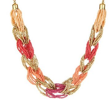 Color enhancing. With beautiful, alternating tonal hues and a braided, seed bead design, this necklace is the perfect mix of color, texture, and style. From Susan Graver.<br><br>Beige/Light Blue, Red/Coral, Turquoise/Seafoam, or Blue/Green. QVC.com