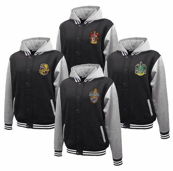 Hogwarts House Fully Custom Quidditch Varsity Jacket Hoodie. I want a Hufflepuff or Slytherin!!!