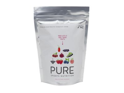 PURE  Superfruit electrolyte hydration is a premium natural sports drink using real fruit, carbohydrates and electrolytes.PURE has been scientifically formulated to rehydrate and replenish your body while exercising. It delivers a special blend of fast absorbing carbohydrates to help keep you body rapidly fuelled during exercise.