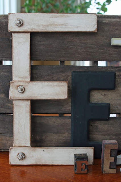 Mamie Jane's: Letter Perfect - Letters made from paint stir sticks