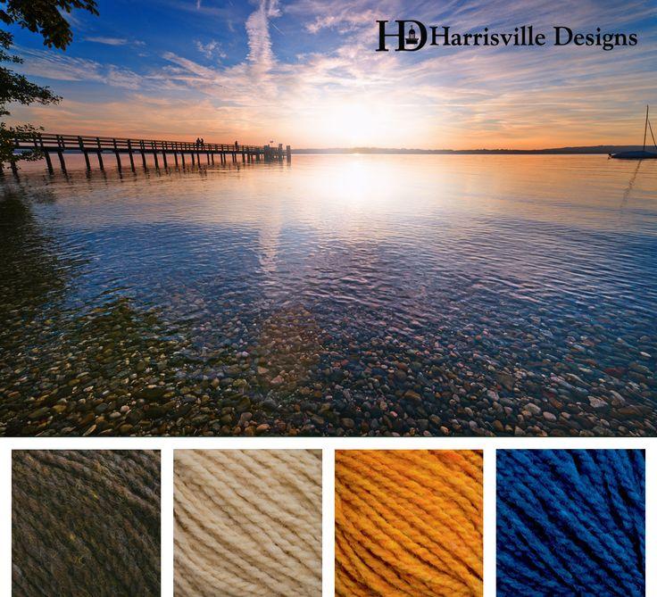Summer dock yarn color palette: Shetland Colors: Walnut, Sand, Gold, and Cobalt.