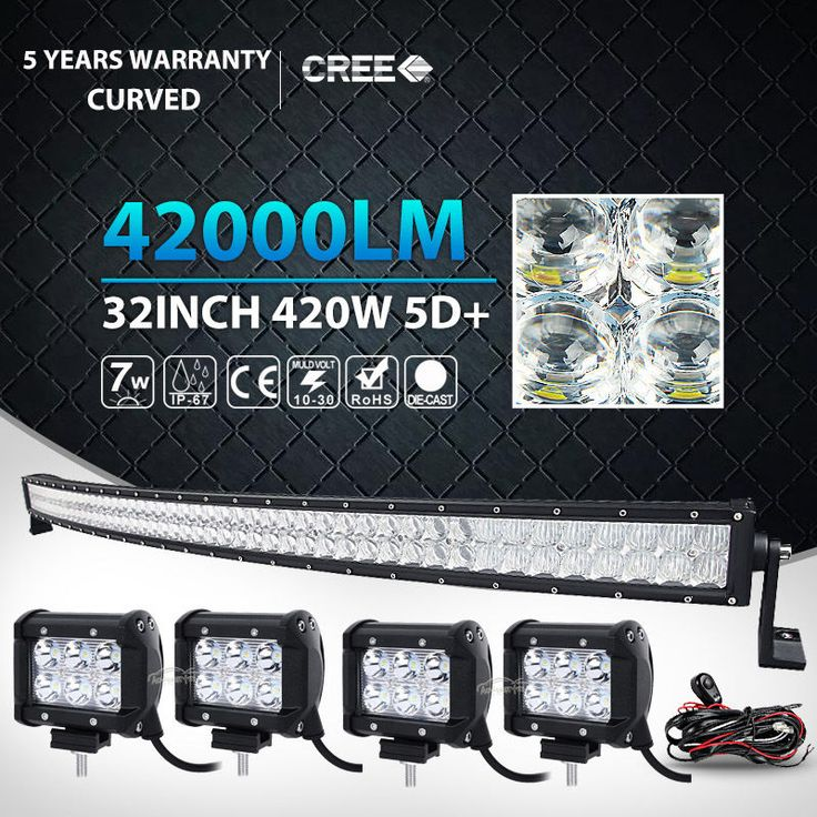 5D 32Inch 420W4x 4 18W Curved Led Light Bar Spot Flood Offroad Driving Lamp 42