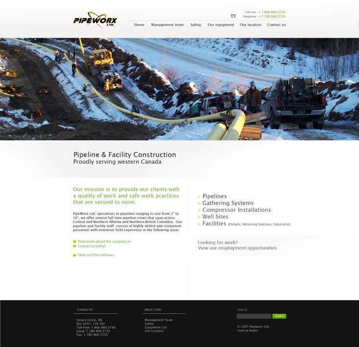 Working with a busy developer we came up with the design for Pipeworx LTD. a professional looking website which was easy to use and met all the styling requirements of the oilfield market. Once the design was completed it was handed off to the developer to finish for the client. Pipeworx LTD | Objectify Modern Design Solutions