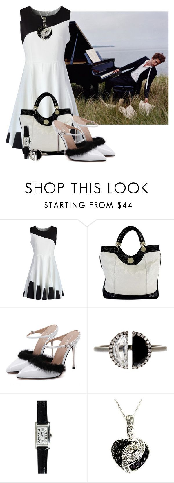 """""""Black and White skater dress"""" by tlb0318 on Polyvore featuring Chicwish, Jill Stuart, WithChic, Bony Levy and Cartier"""