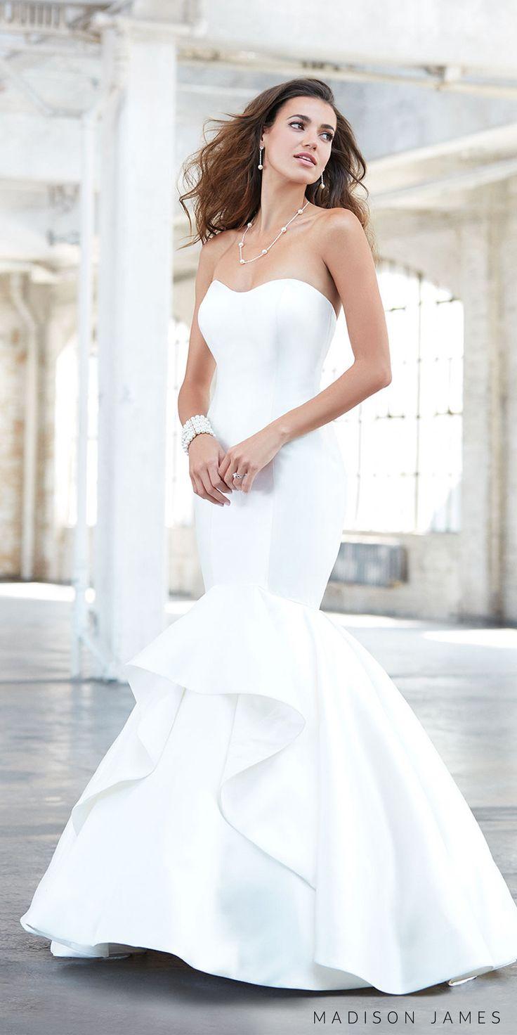 madison james spring 2017 bridal strapless sweetheart neckline simple clean layered skirt elegant mermaid wedding dress chapel train (mj320) mv -- Madison James Spring 2017 Wedding Dresses