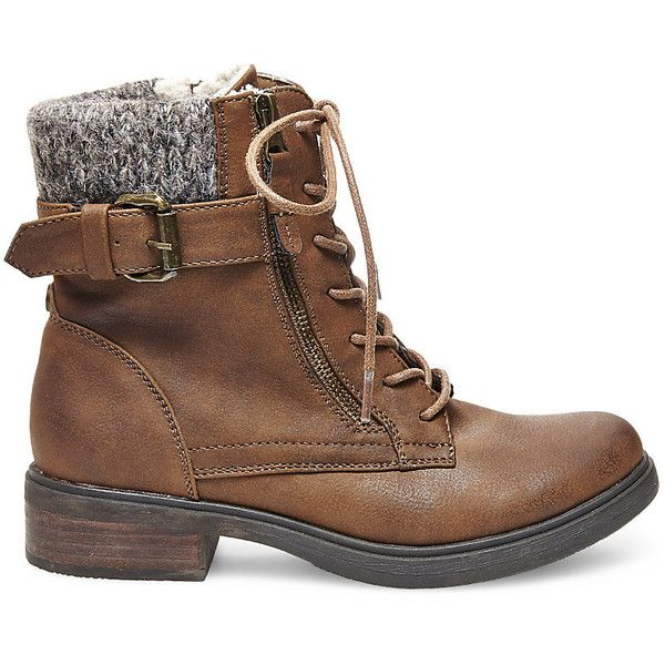 Steve Madden Women's Mimsy Booties ($110) ❤ liked on Polyvore featuring shoes, boots, ankle booties, ankle boots, brown, low heel booties, lace up bootie, brown lace up booties and brown ankle booties